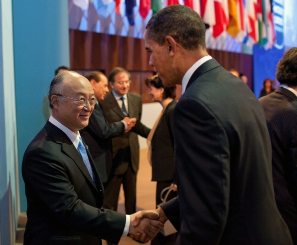 President Barack Obama greets Yukiya Amano, Director General of the International Atomic Energy Agency, at the first plenary session of the Nuclear Security Summit at the Washington Convention Center in Washington, D.C., April 13, 2010. (Official White House Photo by Pete Souza)